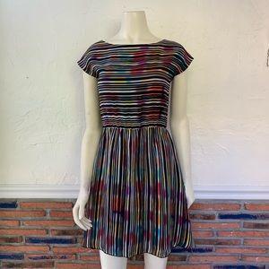 Alice + Olivia Bea Rainbow Stripe Mini Dress